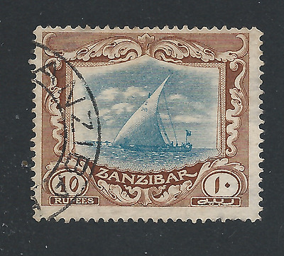 ZANZIBAR 1913 10r GREEN & BROWN FU SG 260 CAT £425