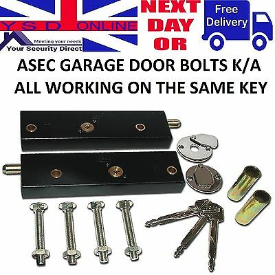 Asec Garage Door Bolts Locks  High Security   ( All Pairs Keyed Alike )