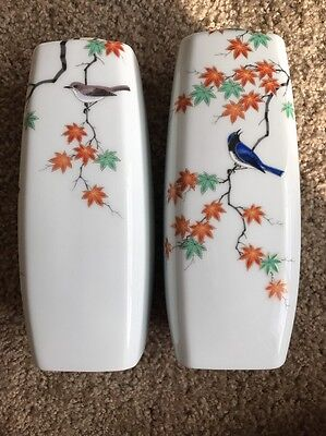 Pair Of Fukagawa Porcelain vase From Arita Japan, Blue Bird With Maple Leaves