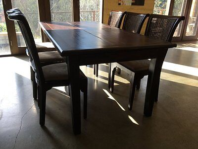 Rustic Wood Dining Table + 6 Chairs