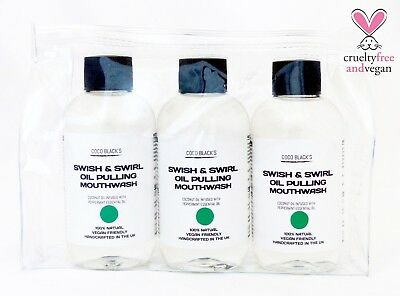 Peppermint Coconut Oil Pulling Mouthwash 1 Month Supply 3x100ml in Cosmetic Bag