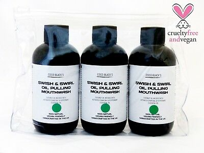 Vegan 100% Natural Charcoal Peppermint Coconut Oil Pulling Mouthwash 3 x 100ml