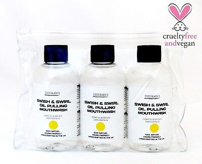 Lemon Coconut Oil Pulling Mouthwash *1 Month Supply *3 x 100ml in Cosmetic Bag