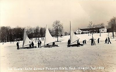 Angola Indiana~Ice Boats on Lake James~Pokagon State Park~Vintage RPPC-Postcard