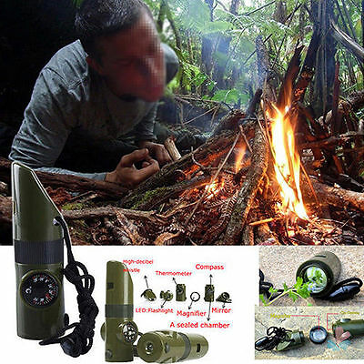 New 7in1 Camping Survival Whistle Compass Thermometer Magnifier LED Flashlight