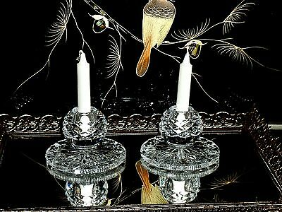 Stunning Crystal Hand Cut Pare Candle Holders Bohemia