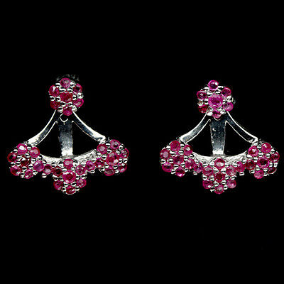 Fascinating! Natural! Red Ruby Sterling 925 Silver Earrings White Gold Plated