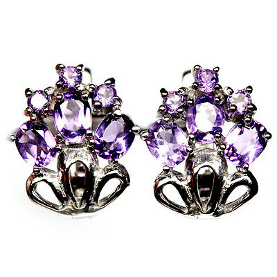 Flawless! Natural! Purple Amethyst Sterling 925 Silver Earrings White Gold