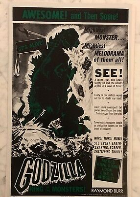 """Vintage Godzilla King of The Monsters Movie Poster Card 14""""X 22"""" Benton Card ."""