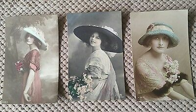 Three Vintage Postcards Of British Beauties  Pre 1914