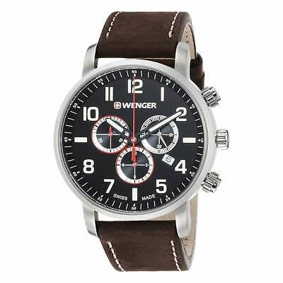 Wenger 01.1543.103 Men's Chrono Black Dial Leather Band Watch