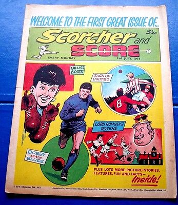 Scorcher And Score 1St Ever Issue & Advert For Comic  & George Best  3/7/1971