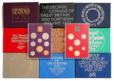 1970 to1982 GB UK Proof Coin Year Sets Royal Mint Multi Listing