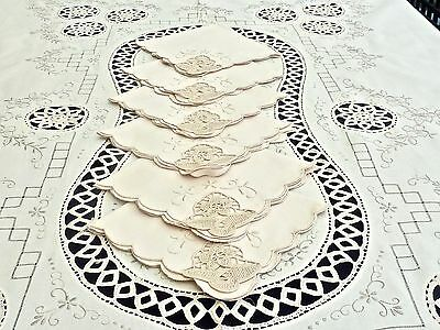 Fabulous Hand Crafted Madeira Ecru Cotton Tablecloth W / Napkins 210 X 170 Cm.