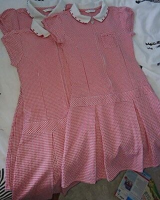 3 M&S red gingham school summer dresses, age 7-8yrs