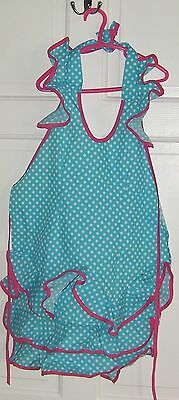 Girl's Very Cute Blue & White Spotty Baking Apron  -  Very Cute and Good Quality