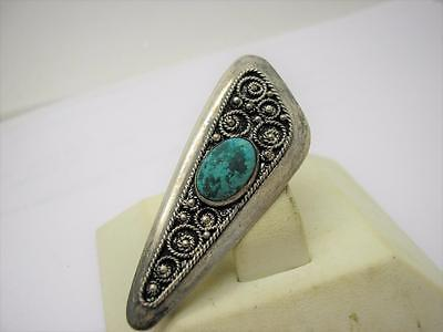 Vintage Sterling Silver Eilat Stone Hand Made Pendant Brooch Pin~