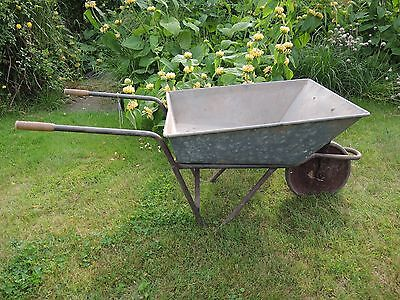 Old  Vintage  Galvanised Metal Garden Wheelbarrow with  Extendable Sides  (660)