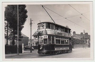 Leicester - tram car 156 to Weston Park T. plain-backed street view RP