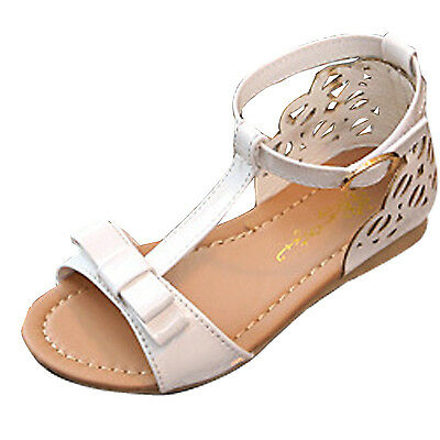 New Kids Baby Girl T-Strap Shiny Leather Sandals Ankle Strap Princess Flat Shoes