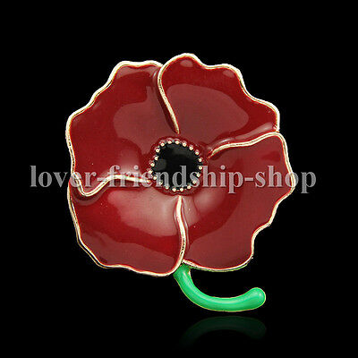 Fashion New Red Remembrance Poppy Brooch Pin Banquet Crystal Badge Flower Gift