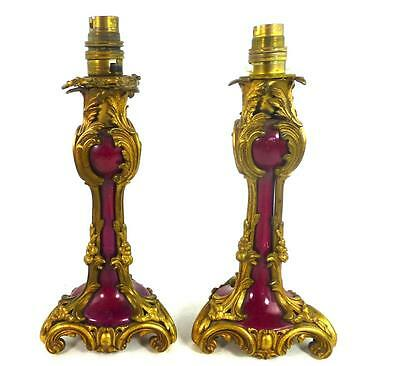Pair Antique French Gilt Bronze & Rouge Ceramic Candlesticks Lamps Rococo