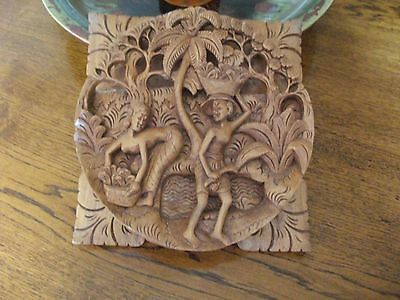 vintage Carved Malaysian figural & flora l Panel Wall Hanging Plaque