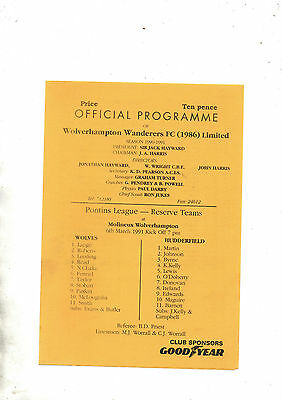 WOLVERHAMPTON WANDERERS RESERVES v HUDDERSFIELD TOWN RESERVES 1990/1