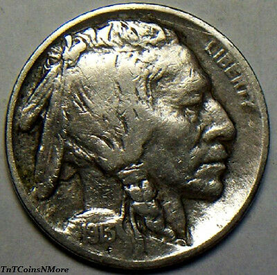 1913 Buffalo Nickel - Type 2 - Very Fine - Free Shipping !!