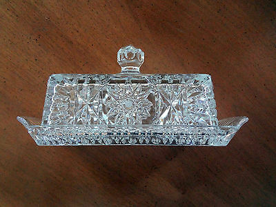 VINTAGE Czech CRYSTAL COVERED BUTTER DISH Beautiful Design! NEVER USED EXCELENT!