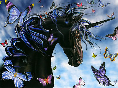"""BLACK UNICORN with BUTTERFLIES - Fantasy Horse - Canvas Print Poster 18X12"""""""