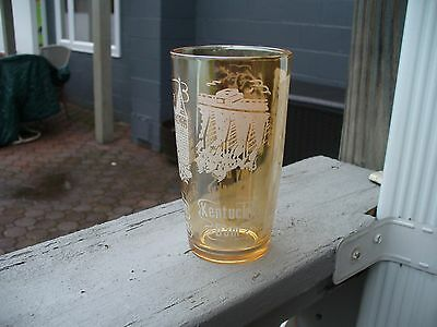 My Old Kentucky Home Mammouth Cave Kentucky Dam Audubon Souvenir Glass Marigold