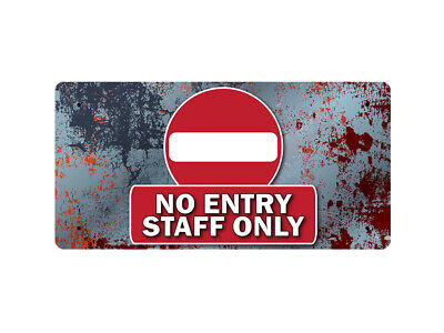 WP_FUN_109 NO ENTRY STAFF ONLY (metal rust style background) - Metal Wall Plate
