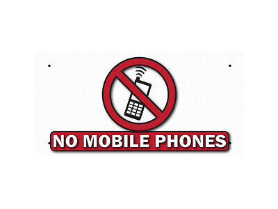 WP_FUN_122 NO MOBILE PHONES - (white background) - Metal Wall Plate
