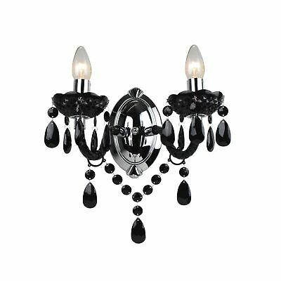 Marie Therese 2 Lights Black & Chrome Wall Bracket Chandelier Light