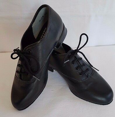 Boys' ballroom social dance shoes black leather and patent lace up Freed