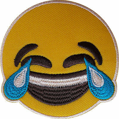 Yellow Smiley Face LOL Emoji Patch Iron Sew On Laughing Crying Embroidered Badge