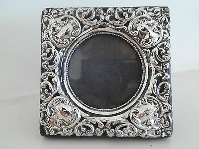 Antique Repousse Small Silver Mounted Photo Frame Hm Birm 1906 - 2.9 By 2.9 Inch