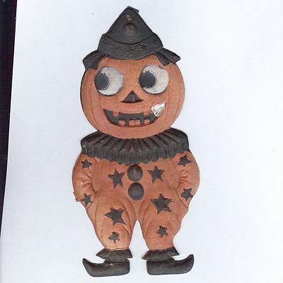Small Jack O' Lantern Clown cardboard Halloween decoration German 1920's