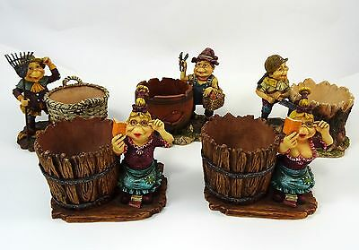 Rare Laaf Collection Gnome Figurines Lot of 5 Planters Candle Holders 2002