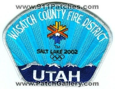 Wasatch County Fire District Salt Lake 2002 Olympics Patch Utah Ut Rare