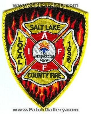Salt Lake County Fire Dept. Iaff Local 1696 2002 Winter Olympics Patch Utah Ut