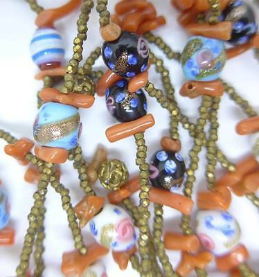 Vntge Edwardian Venetian Fancy Glass Bead Rose Coral Cut Steel Bead Necklace