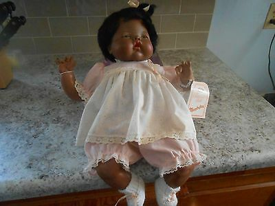 """Vintage 1982 Ideal 18"""" Thumbelina African American Baby Doll With Original Tag"""