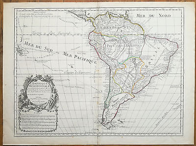 De l´Isle Large Colored Map South America  - 1700