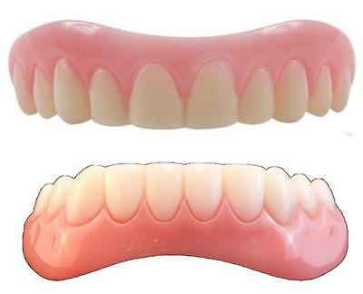 Instant Smile Teeth LARGE top & BOTTOM SET ONE PKG EX BEAD & FREE HARD CASE