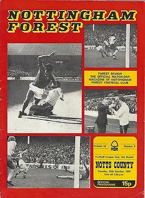 NOTTINGHAM FOREST v NOTTS COUNTY ~ LEAGUE CUP 3RD ROUND ~ 25 OCTOBER 1977