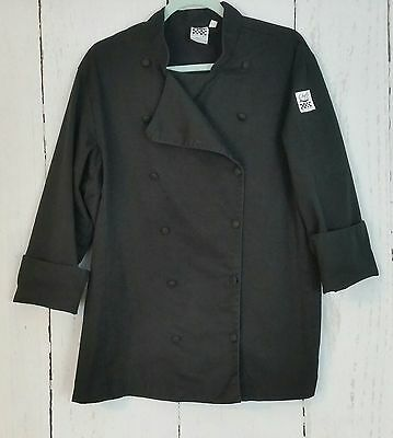 Black Long Sleeve Chef Coat by Chef Revival  Large 12 Buttons Roll Cuffs