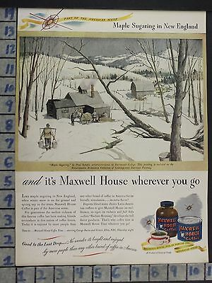 1946 Maxwell House Coffee New England Maple Syrup Dartmouth Tap Vintage Ad Dd86