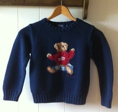 Ralph Lauren POLO Child Youth Size 7 Teddy Bear Sweater American Flag Navy Blue